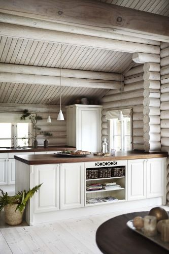 Whitewashed Interior Log Cabin