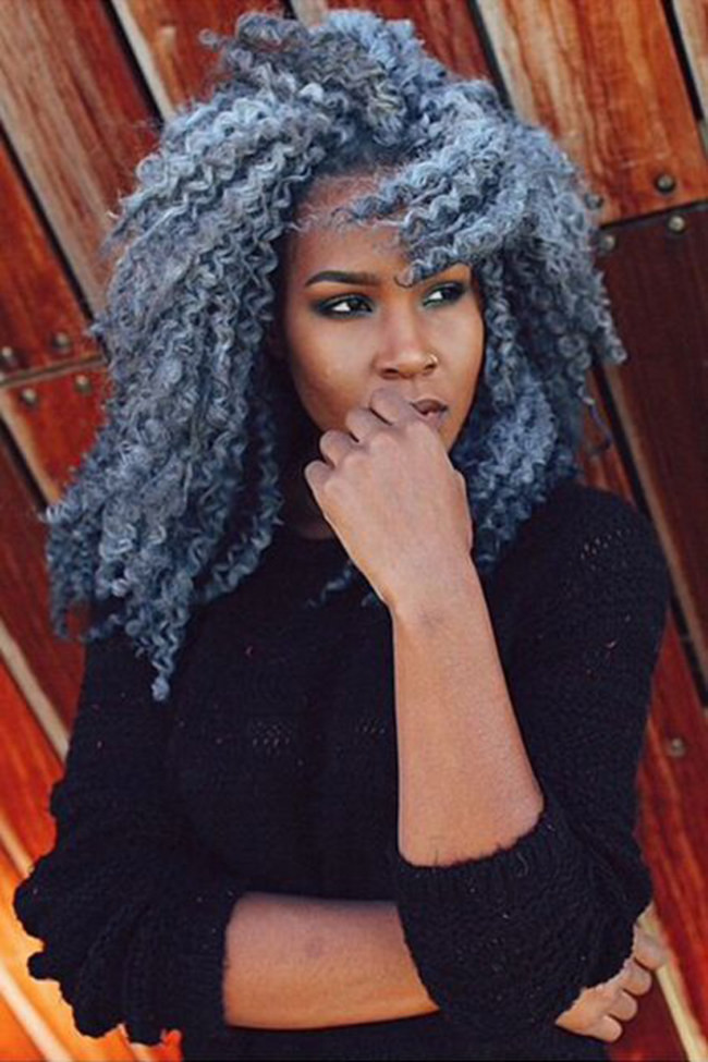 Grey Blue Hair Color Trend For Women 24