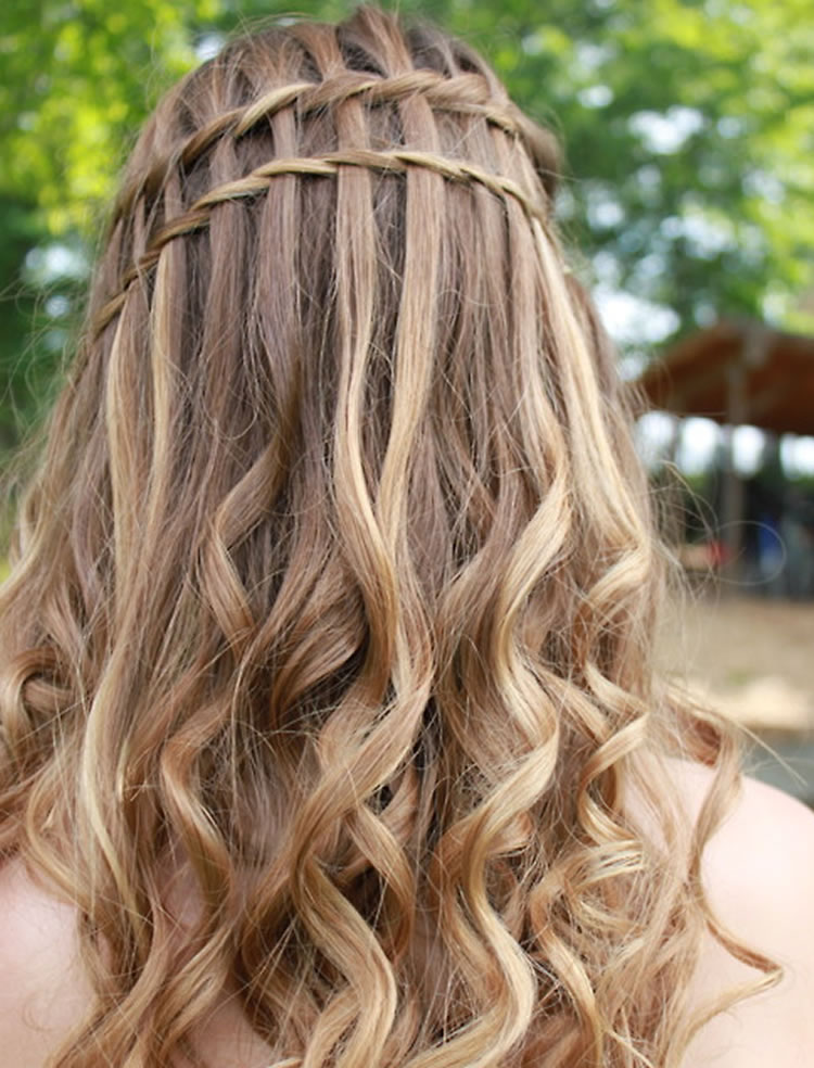 Attractive waterfall braid around head