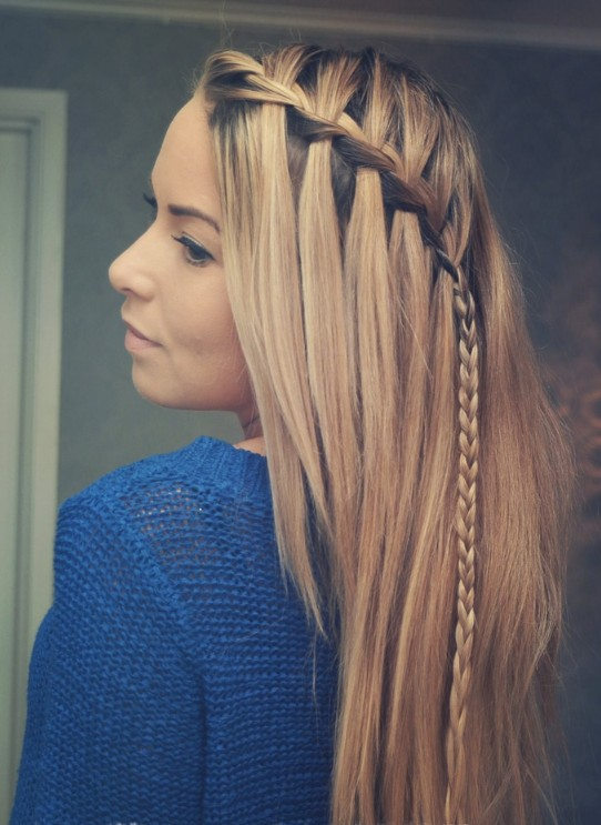 Stylish Waterfall Braid Hairstyles for Women 2018 26