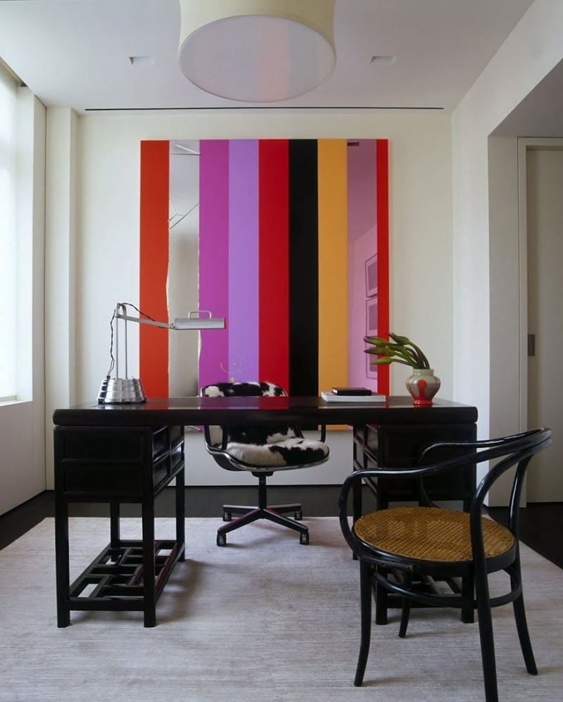Modern Home Office Space Black Office Desk Colorful Home Interior